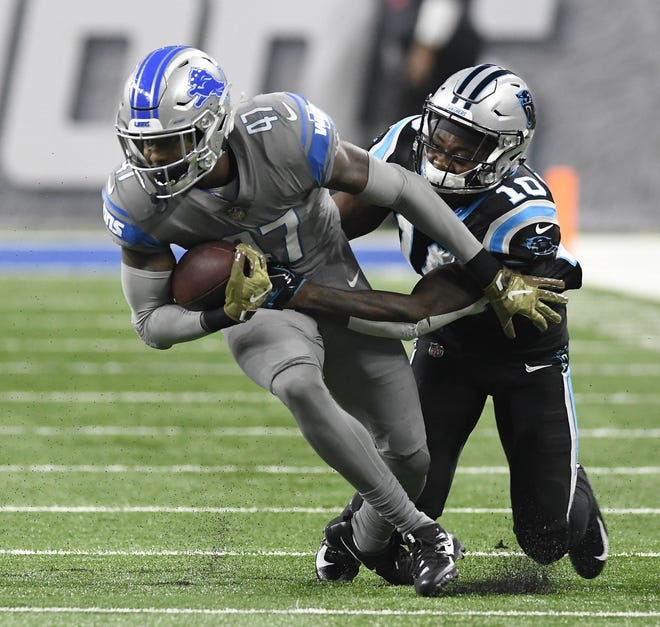 Detroit Lions defensive back Tracy Walker intercepted a pass against recipient Carolina Panthers Curtis Samuel in the second quarter on Sunday November 18, 2018 at Ford Field