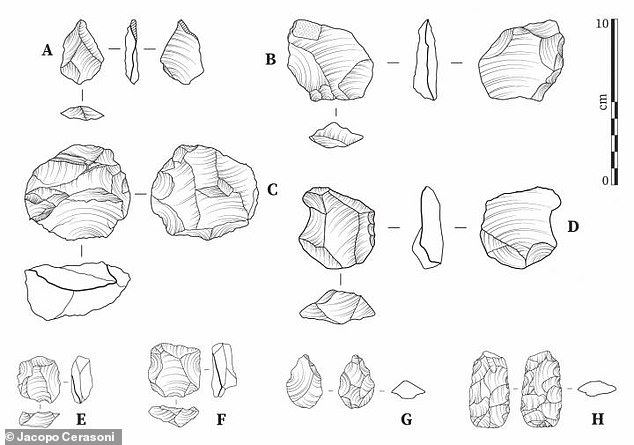 Archaeologists say their research supports the idea that - for most of the prehistoric ages of humankind - groups of humans were relatively isolated from one another.  These drawings show some of the tools used 11,000 years ago in West Africa that actually ended up being used elsewhere