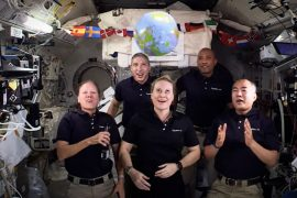Astronauts greet the new year from space without the gravity 2021 landing ball