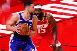 76ers star Ben Simmons and Nets star James Harden with Rockets